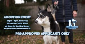Approved Applicants ONLY - Adoption Event at HFGDR @ Home for Good Dog Rescue